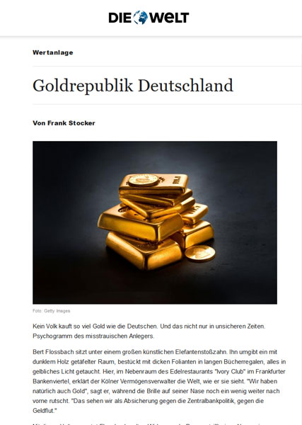 Goldrepublik Deutschland - No people buy as much gold as the Germans. And not just in uncertain times. Psychogram of the suspicious investor